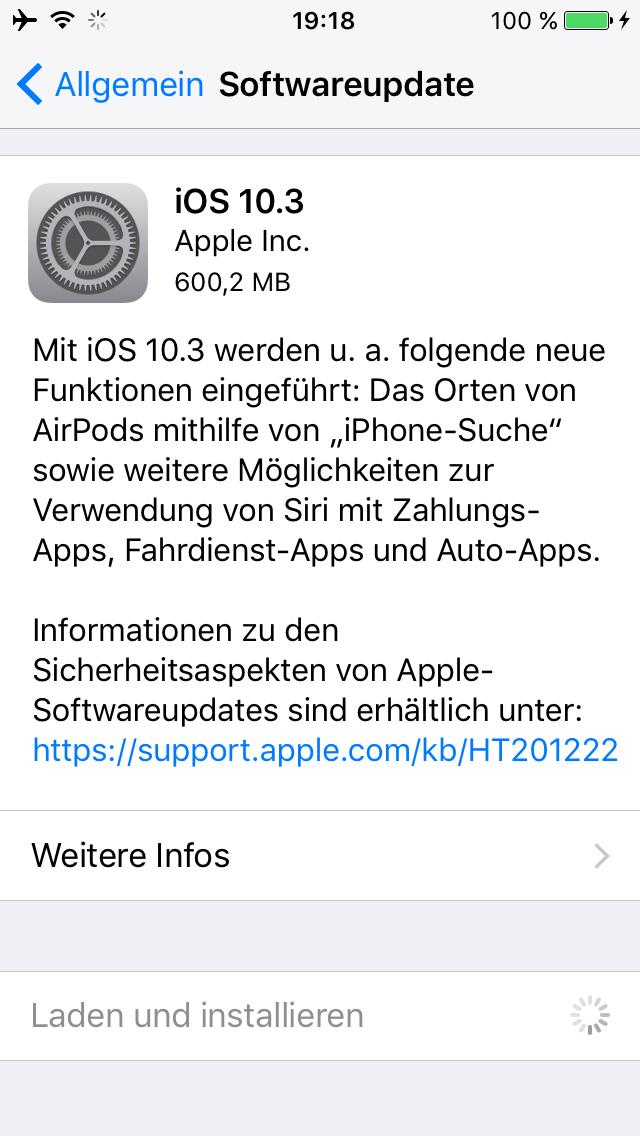 iOS 10.3 auf iPhone 5S