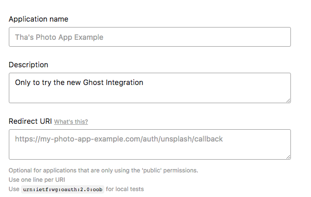 Unplash register application ghost weblog