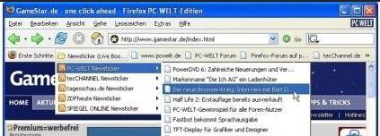 Firefox mit eingebautem Feedreader und neuen Artikeln