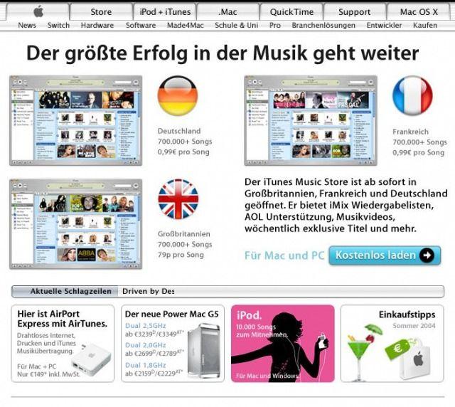 Die Website www.apple.com/de am 26.06.2004