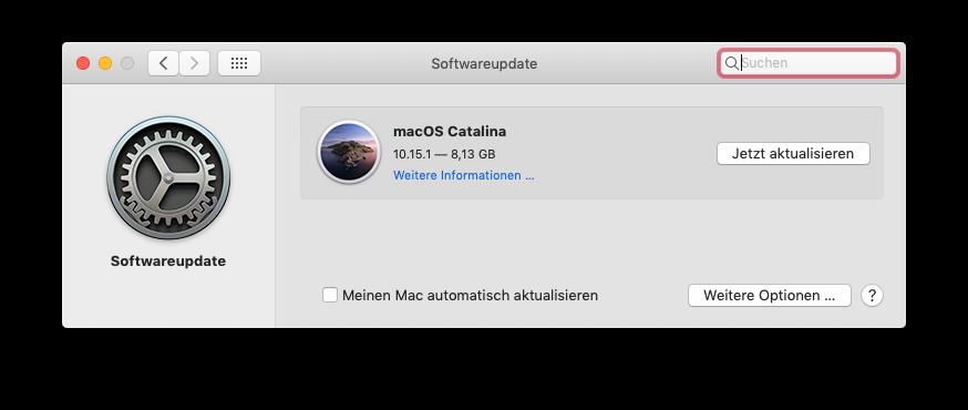 Softwareupdate zeigt mir an, dass Catalina 10.15.1 zur Verfügung steht.