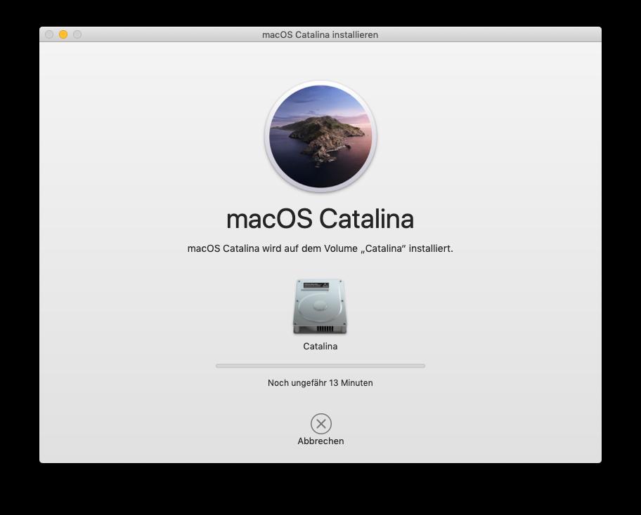macOS 10.15 Catalina wird auf meinem MacPro5,1 installiert. Ohne Patches.