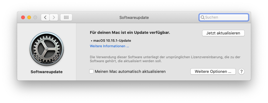 Updatehinweis MacPro5,1 Catalina 10.15.1