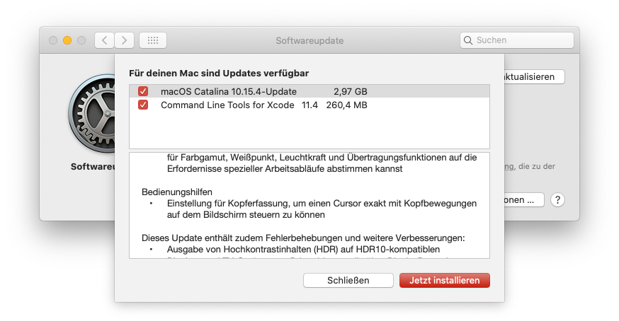 macOS 10.15.4 Catalina Update, knapp 3 GB groß