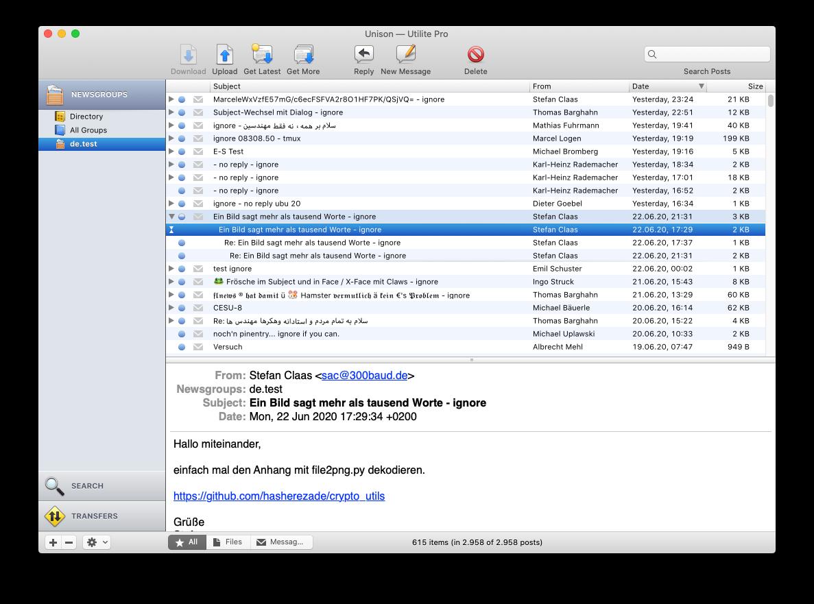 Panics Unison auf macOS 10.15, Gruppe de.test
