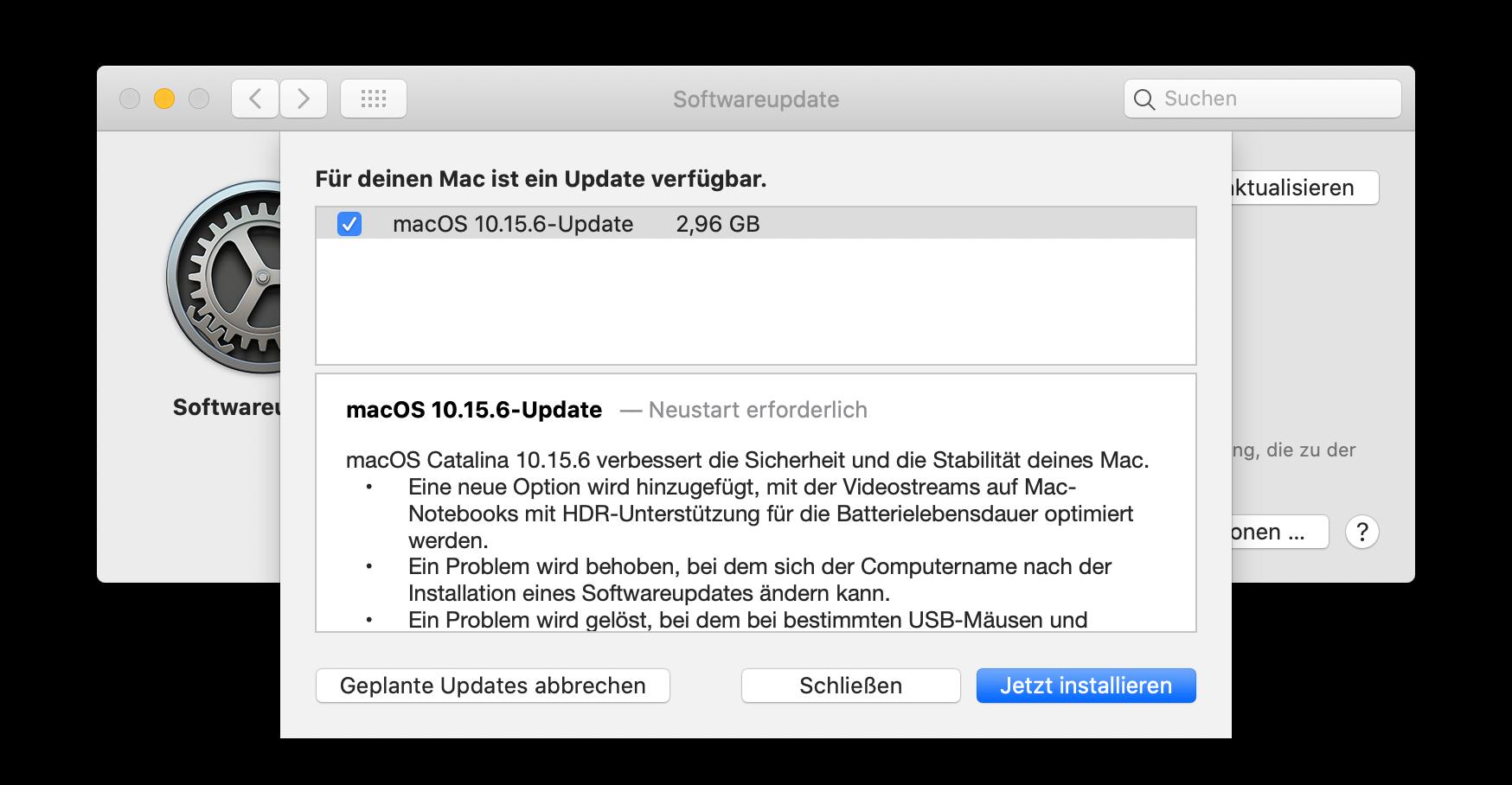 macOS 10.15.6 Update