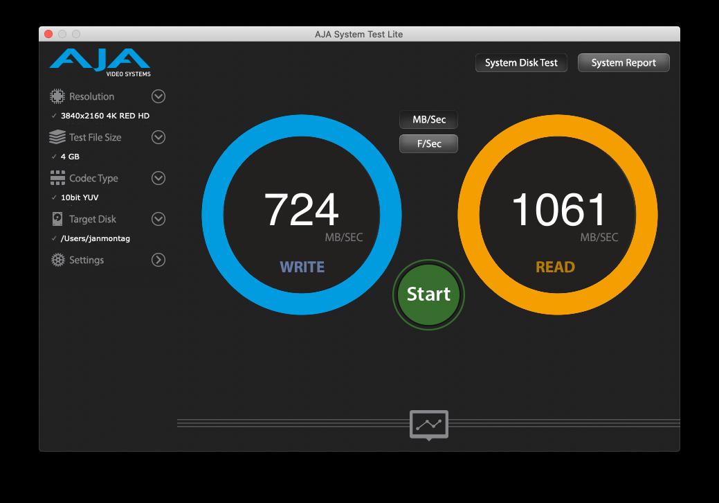 AJA SSD Test auf Apple SSD in MacPro6,1 (C) thahipster.de