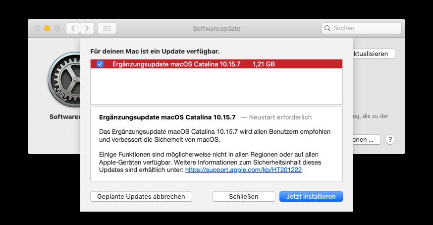 Ergänzungsupdate macOS Catalina 10.15.7