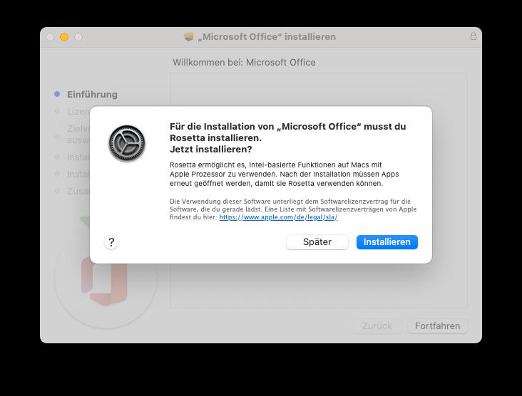 Apple M1 Installation von Rosetta2 für MS Office