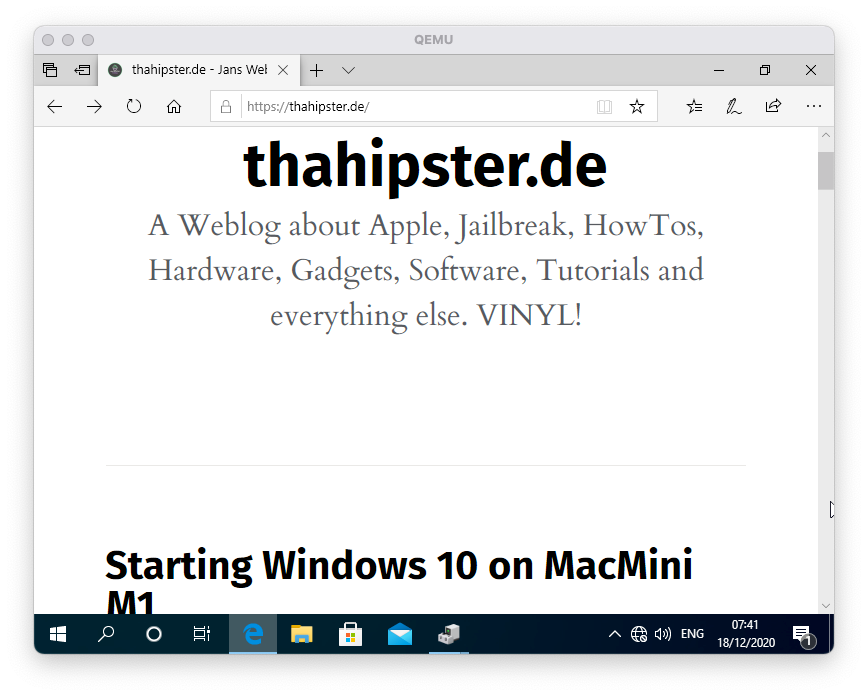 Windows 10 for Arm auf MacMini M1 zeigt thahipster.de