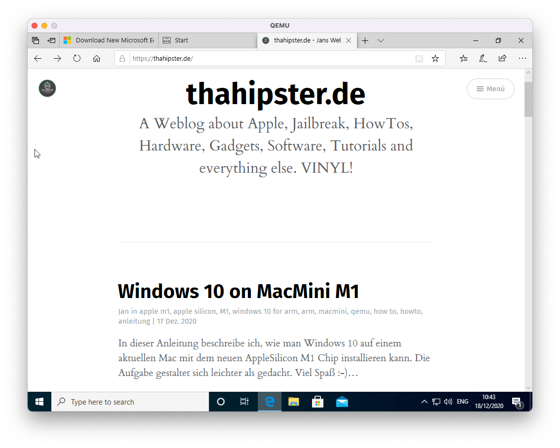 thahipster.de auf Windows for Arm on MacMini M1