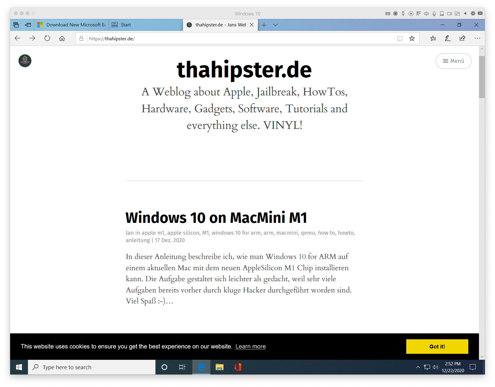 thahipster.de in Parallels M1 unter Windows 10 for Arm auf Mac M1