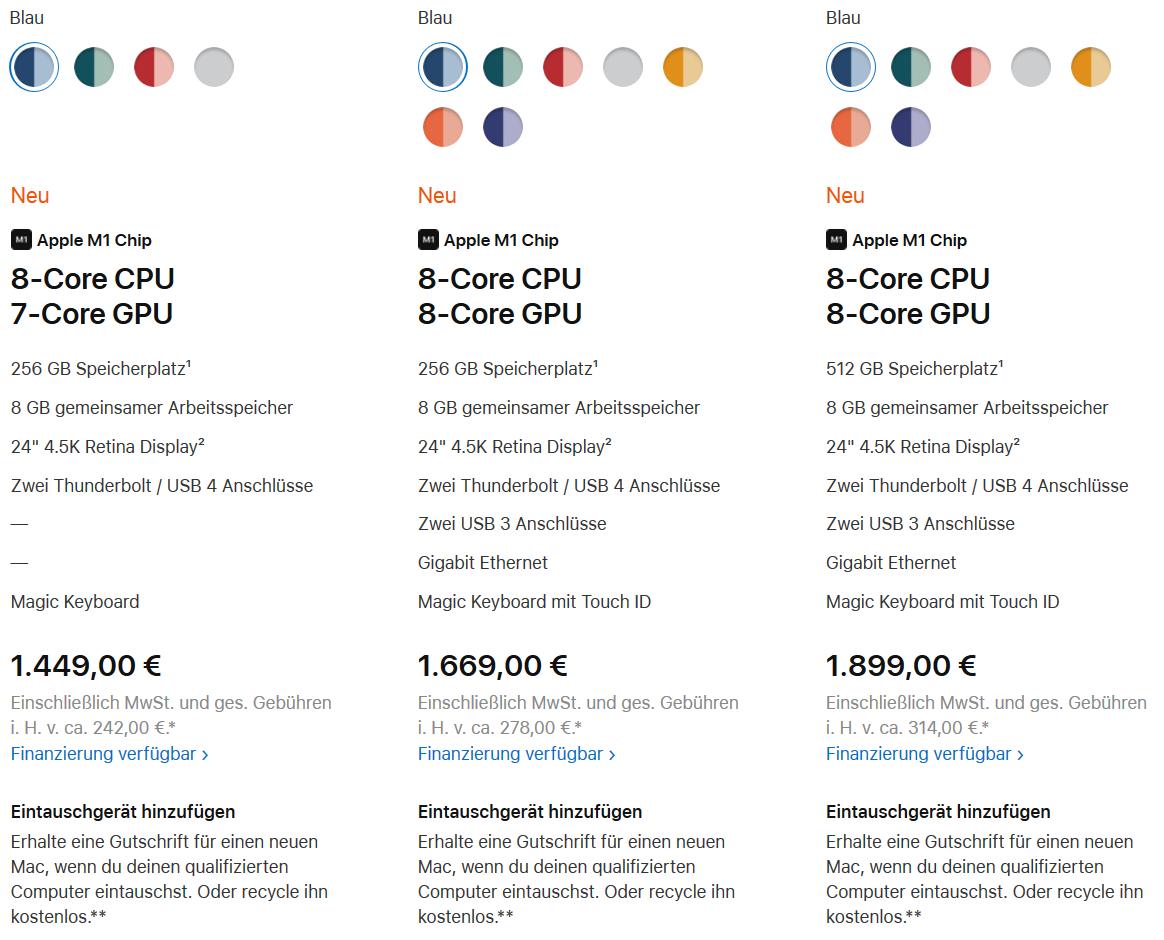 Apples drei Grundkonfigurationen und ihre Euro-Preise.