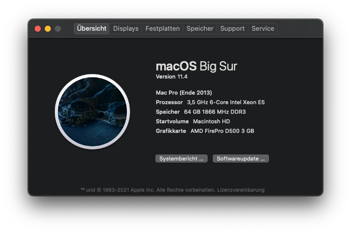 """MacPro6,1 macOS Big Sur 11.4 """"About This Mac"""""""